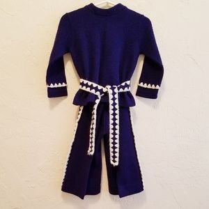 Vintage Embroidered Trim 60s/70s Sweater Set 2T